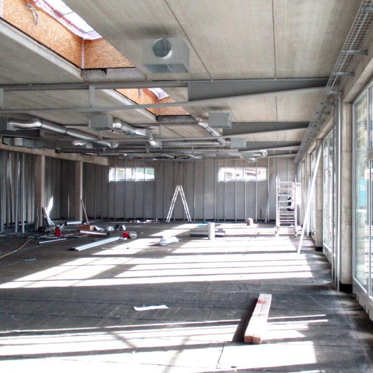 senior citizen center Unger-Leben am Wald  during construction with Draheim Träger with ceiling