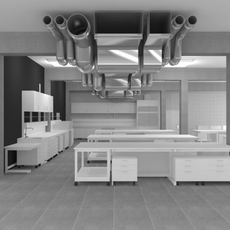 laboratory without beamUp in black and white
